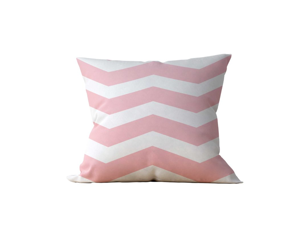 Almofada Decorativa Chevron White & Rose - 45x45