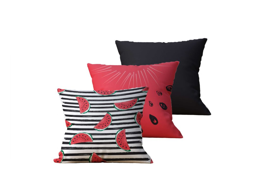 Kit com 3 Almofadas Decorativas WaterMelon - 45x45 - by #1 AtHome Loja