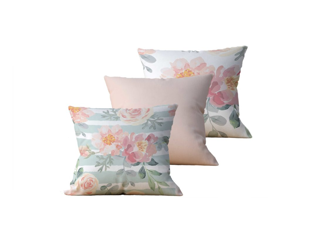 Kit com 3 Almofadas Decorativas Flor Esperance - 45x45 - by #1 AtHome Loja
