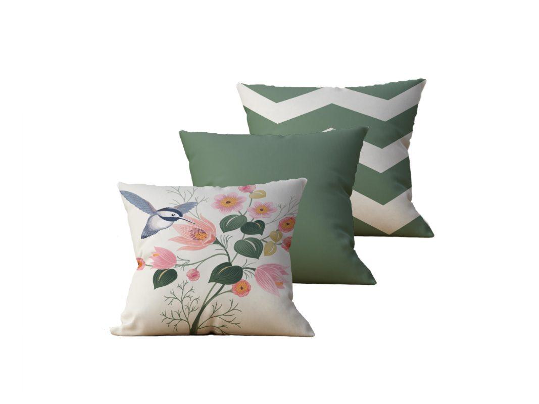 Kit com 3 Almofadas Decorativas Flor & Beija-Flor Duo - 45x45 - by #1 AtHome Loja