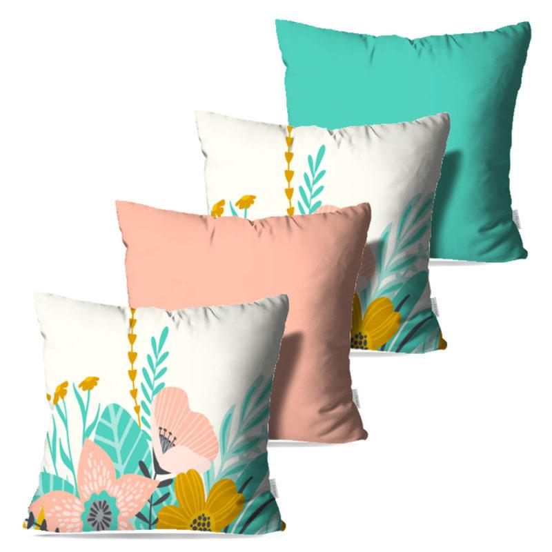 Kit: 4 Capas de Almofada Decorativas Beauty Garden - 45x45