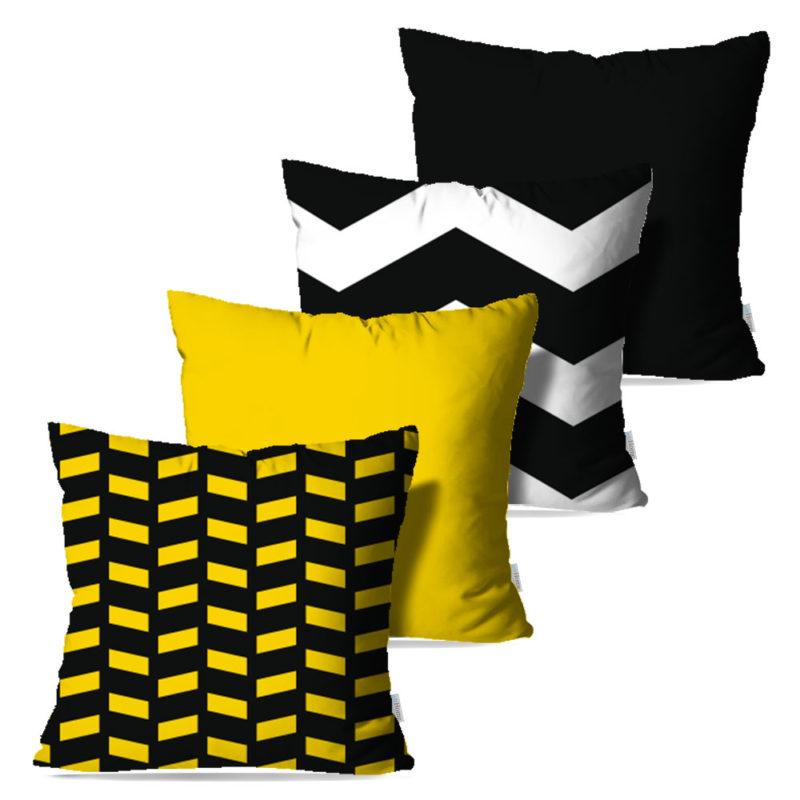 Kit: 4 Capas de Almofada Decorativas Black & Gold - 45x45