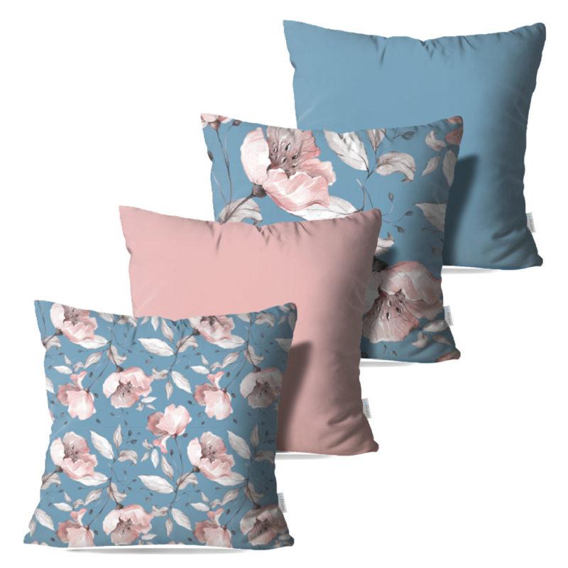 Kit: 4 Capas de Almofada Decorativas Flor Essence - 45x45
