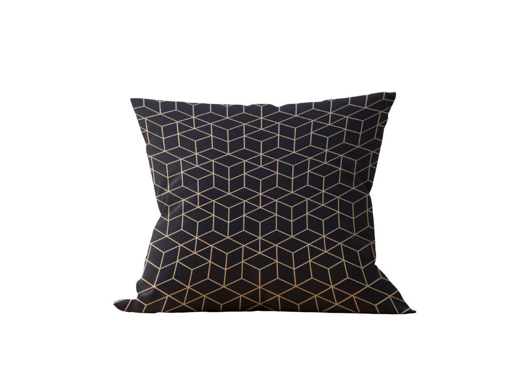 Almofada Decorativa Geométrica Black Gilded - 45x45