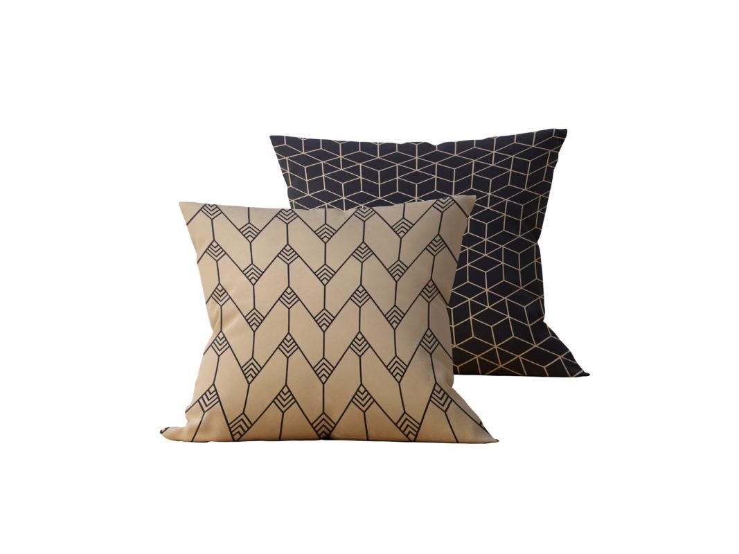 Kit: 2 Almofadas Decorativas Geométrica Black Gilded - 45x45