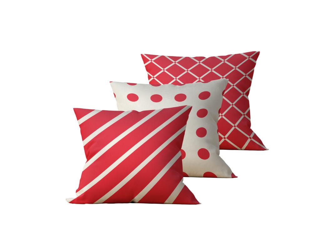 Kit: 3 Almofadas Decorativas Listras Vermelhas Duo - 45x45