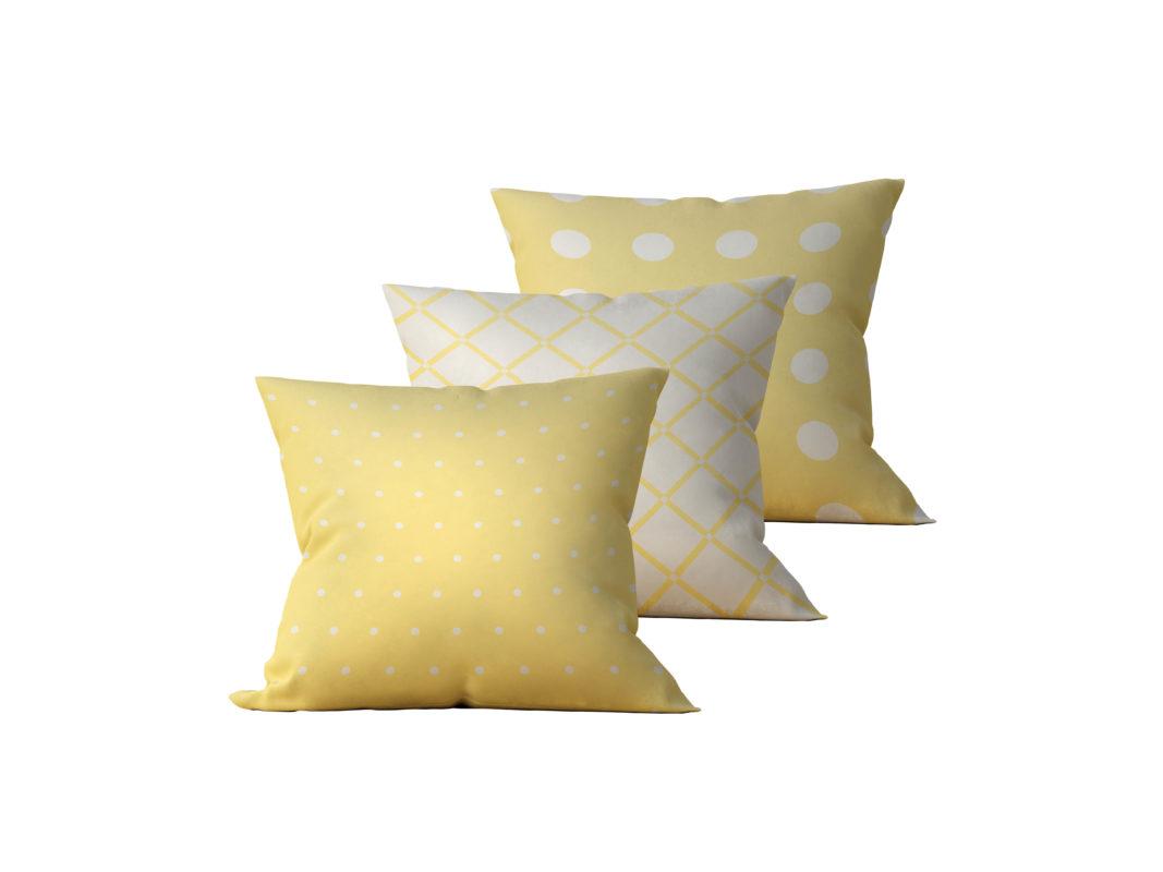 Kit: 3 Almofadas Decorativas Amarela Coat - 45x45