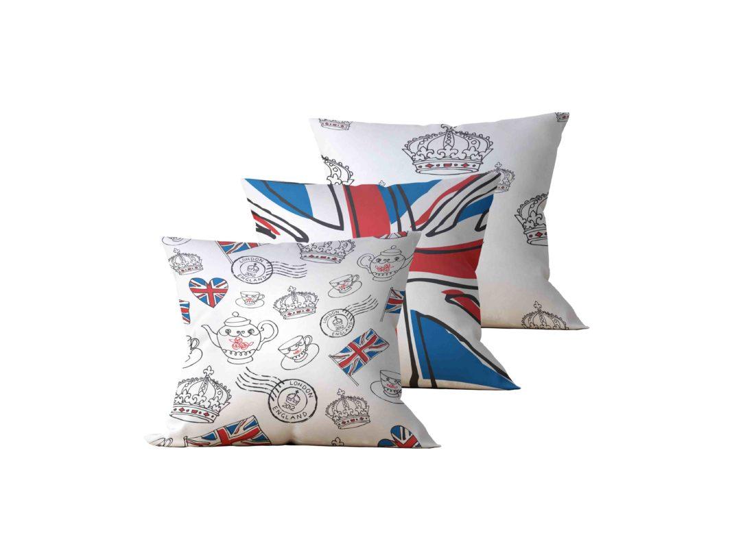 Kit: 3 Almofadas Decorativas England - 45x45