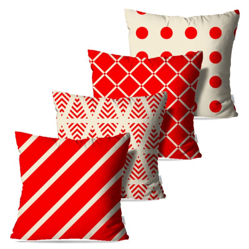 Kit: 4 Capas de Almofada Decorativas Faixas Vermelhas - 45x45