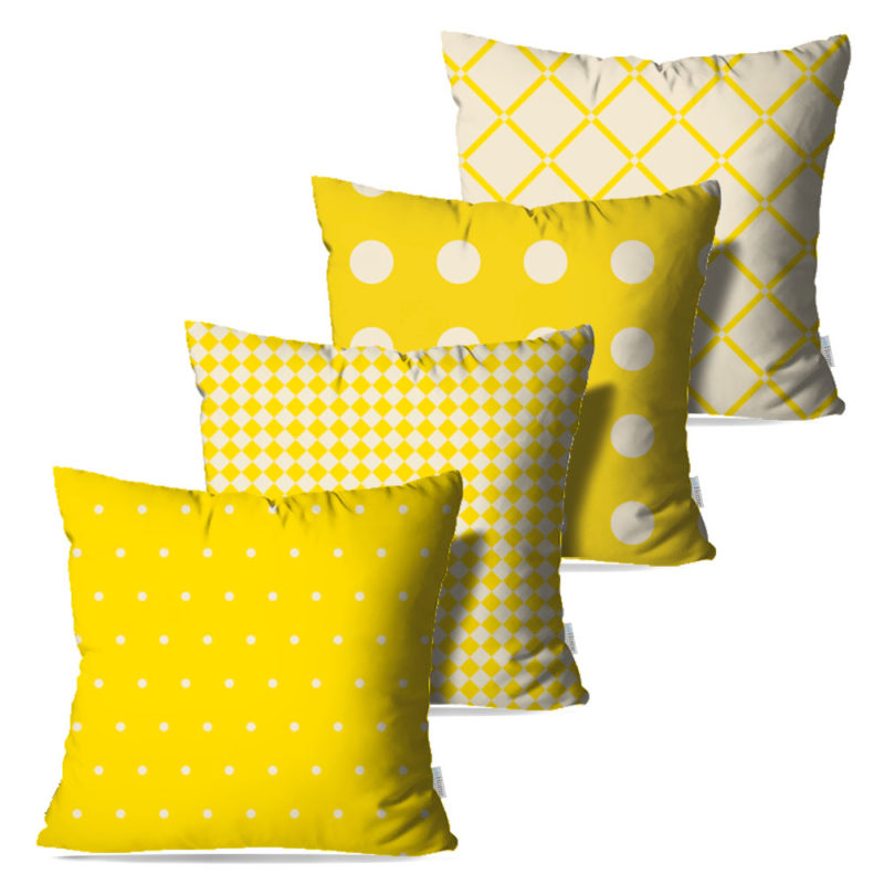 Kit: 4 Capas de Almofada Decorativas Amarela Coat - 45x45