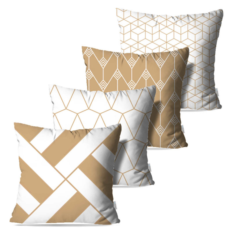 Kit: 4 Capas de Almofada Decorativas Geométrica Gilt - 45x45