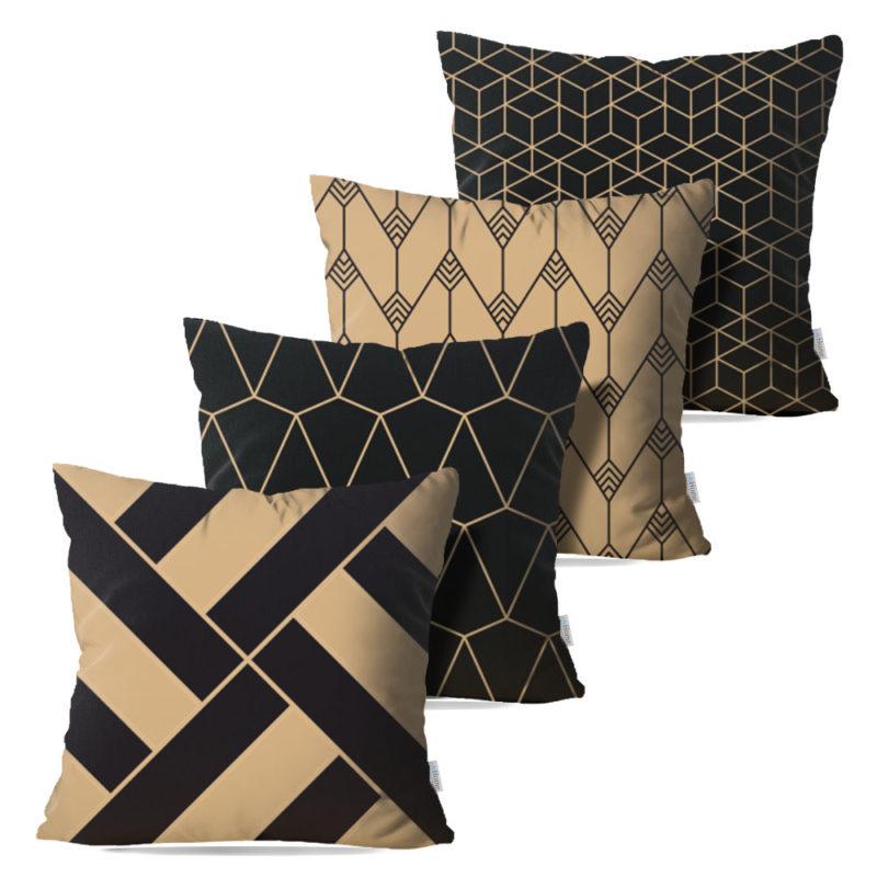 Kit: 4 Capas de Almofada Decorativas Geométrica Black Gilt - 45x45