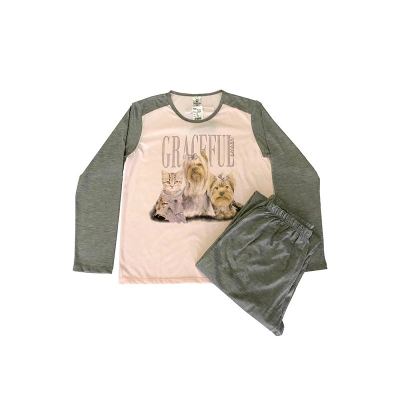 Pijama Feminino Adulto Inverno - Gracefull em Malha Suave PV Confort - Serena