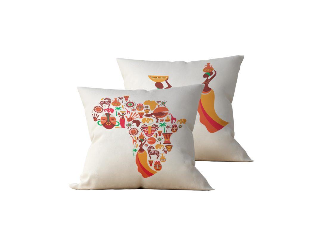 Kit: 2 Almofadas Decorativas Africa - 45x45