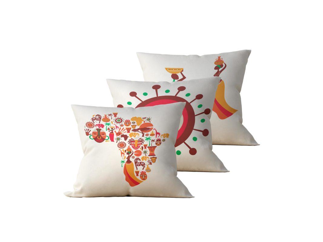 Kit: 3 Almofadas Decorativas Africa - 45x45