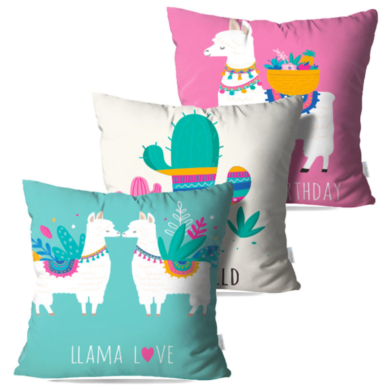 Kit: 3 Capas de Almofada Decorativas Allama - 45x45