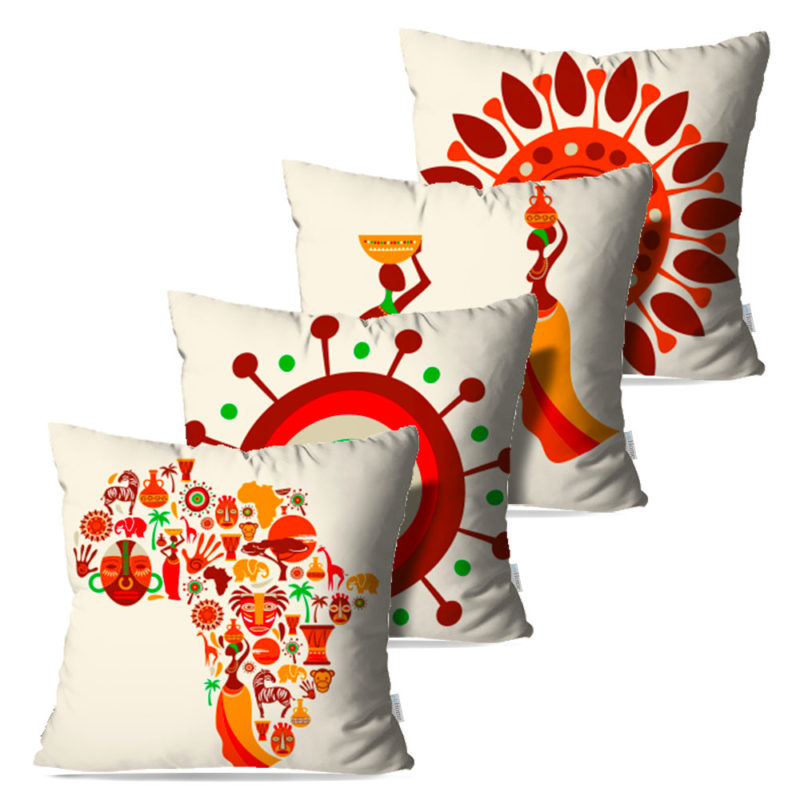 Kit: 4 Capas de Almofada Decorativas Africa - 45x45
