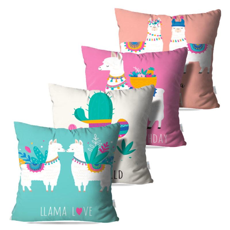 Kit: 4 Capas de Almofada Decorativas Allama - 45x45