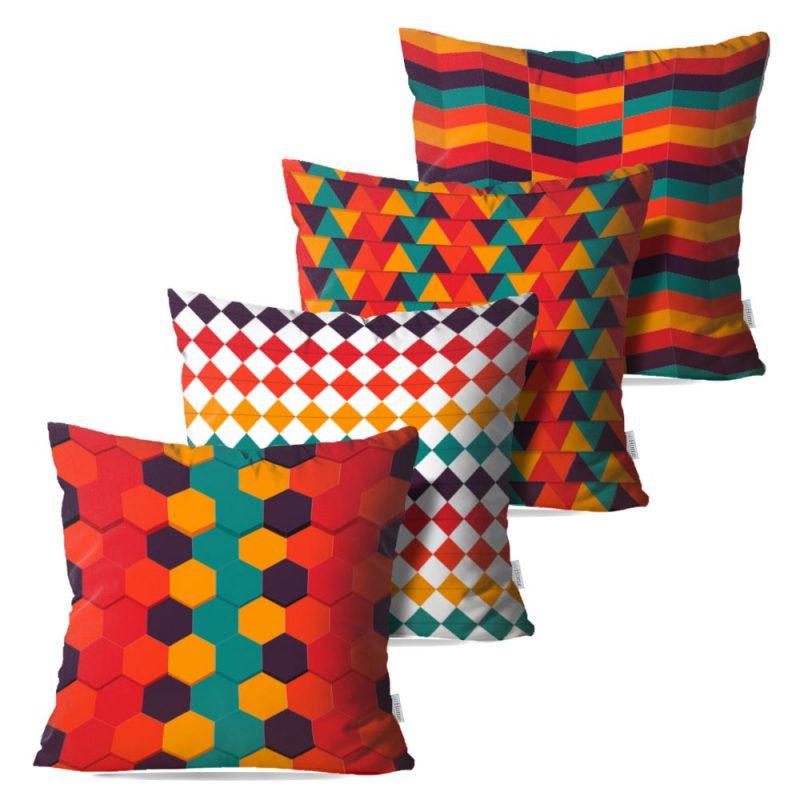 Kit: 4 Capas de Almofada Decorativas Geome - 45x45