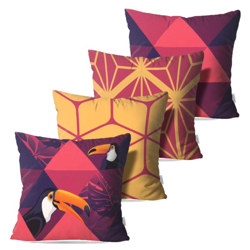 Kit: 4 Capas de Almofada Decorativas Toucan - 45x45