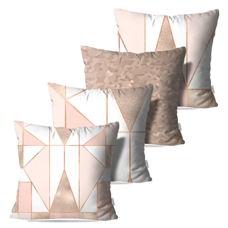 Kit: 4 Capas de Almofada Decorativas Roz - 45x45