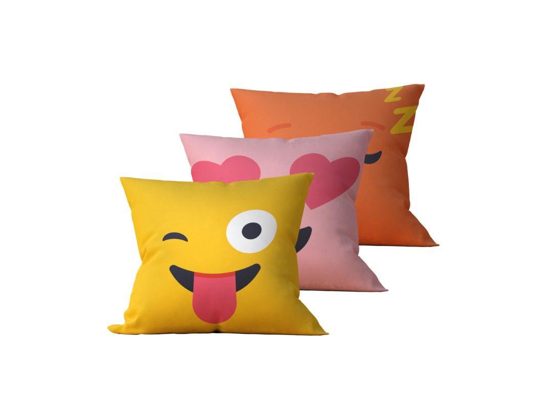 Kit: 3 Almofadas Decorativas Emoji - 45x45
