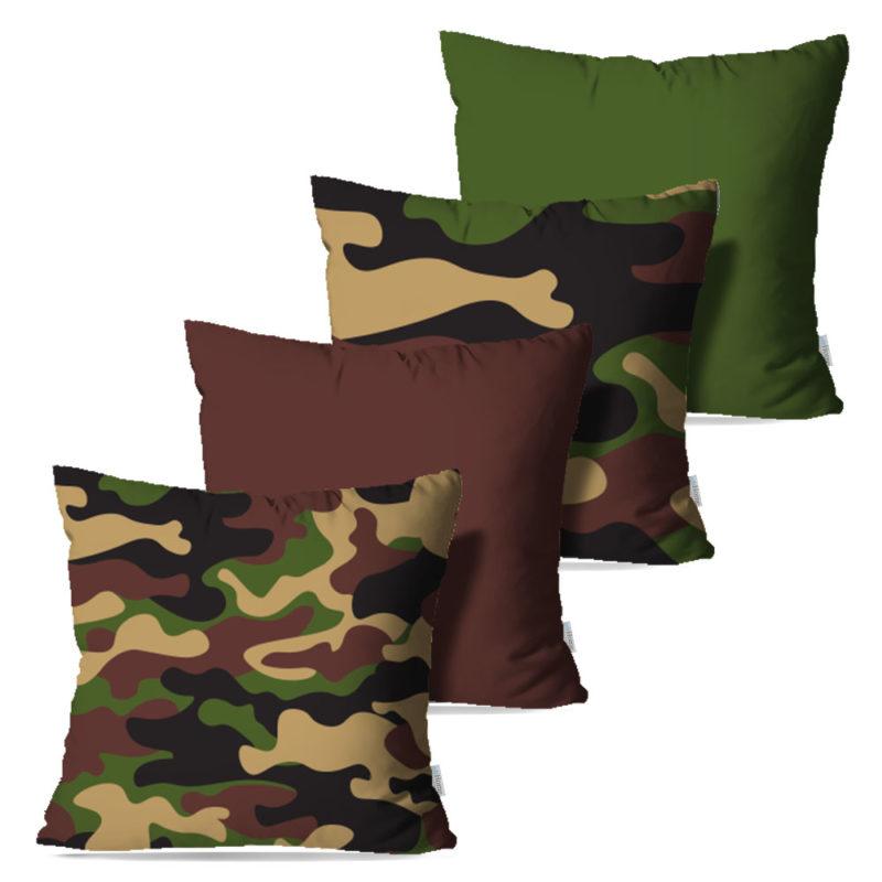 Kit: 4 Capas de Almofada Decorativas Camuflado - 45x45