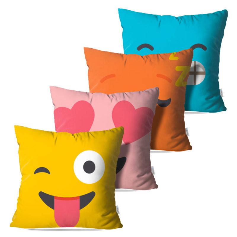 Kit: 4 Capas de Almofada Decorativas Emoji - 45x45