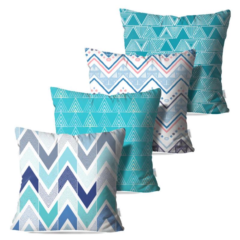 Kit: 4 Capas de Almofada Decorativas Geo Azul - 45x45