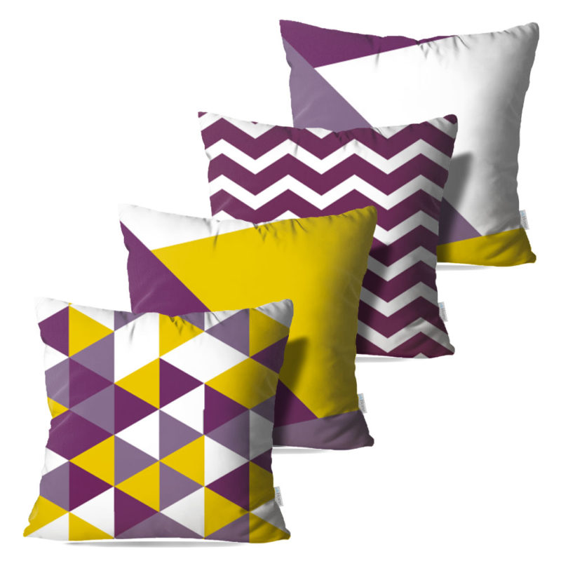Kit: 4 Capas de Almofada Decorativas Geo Purple - 45x45