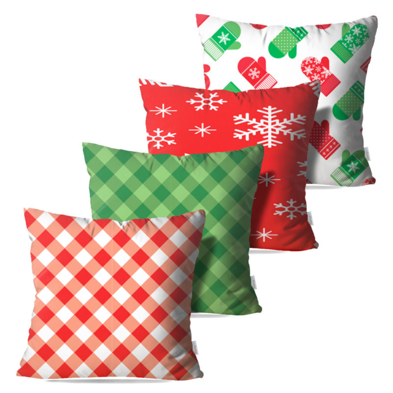 Kit: 4 Capas de Almofada Decorativas Natal It's Christmas - 45x45