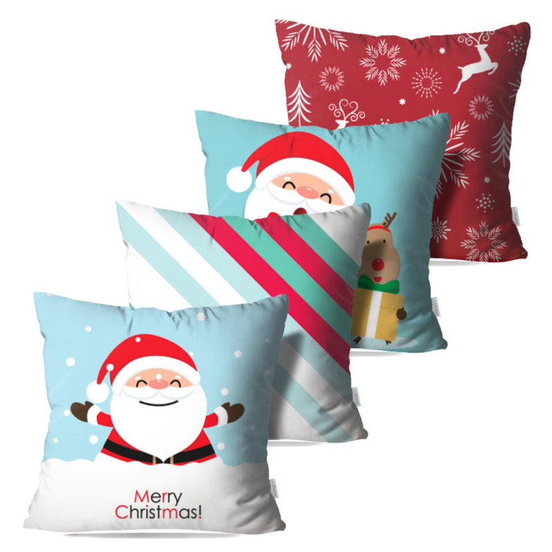 Kit: 4 Capas de Almofada Decorativas Natal Dream - 45x45