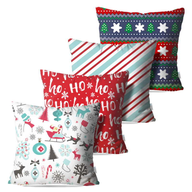 Kit: 4 Capas de Almofada Decorativas Natal Joy - 45x45