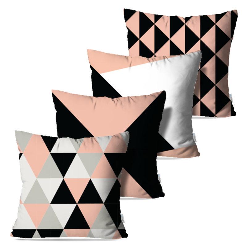 Kit: 4 Capas de Almofada Decorativas Geo Rose - 45x45