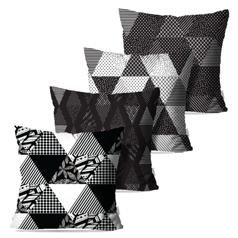 Kit: 4 Capas de Almofada Decorativas Geo Black - 45x45
