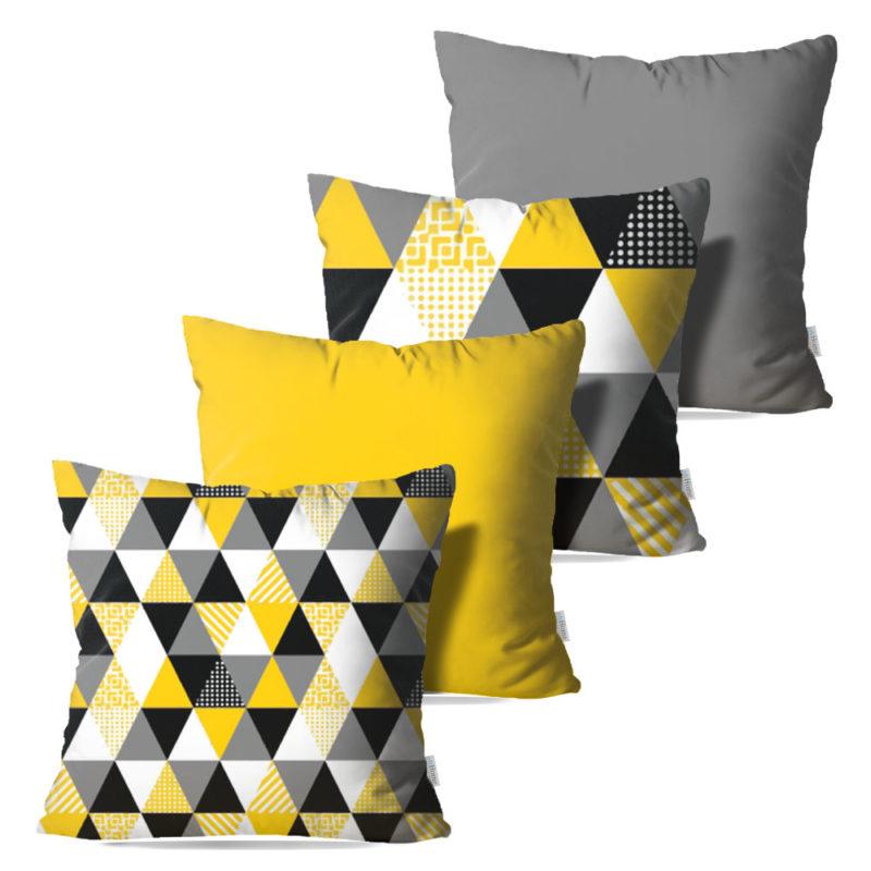 Kit: 4 Capas de Almofada Decorativas Geo Yellow - 45x45