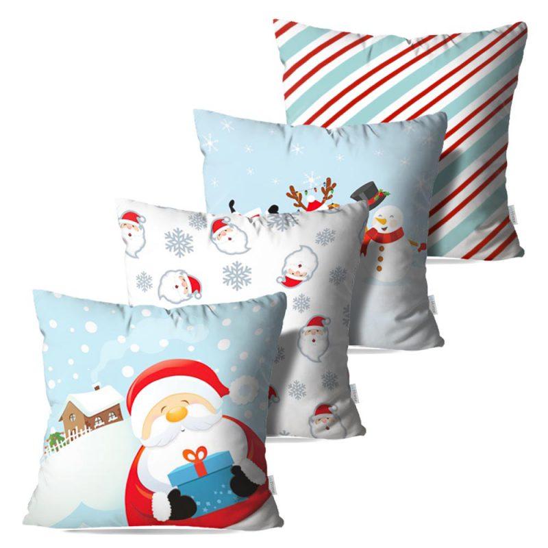 Kit: 4 Capas de Almofada Decorativas Natal Santa Gift - 45x45