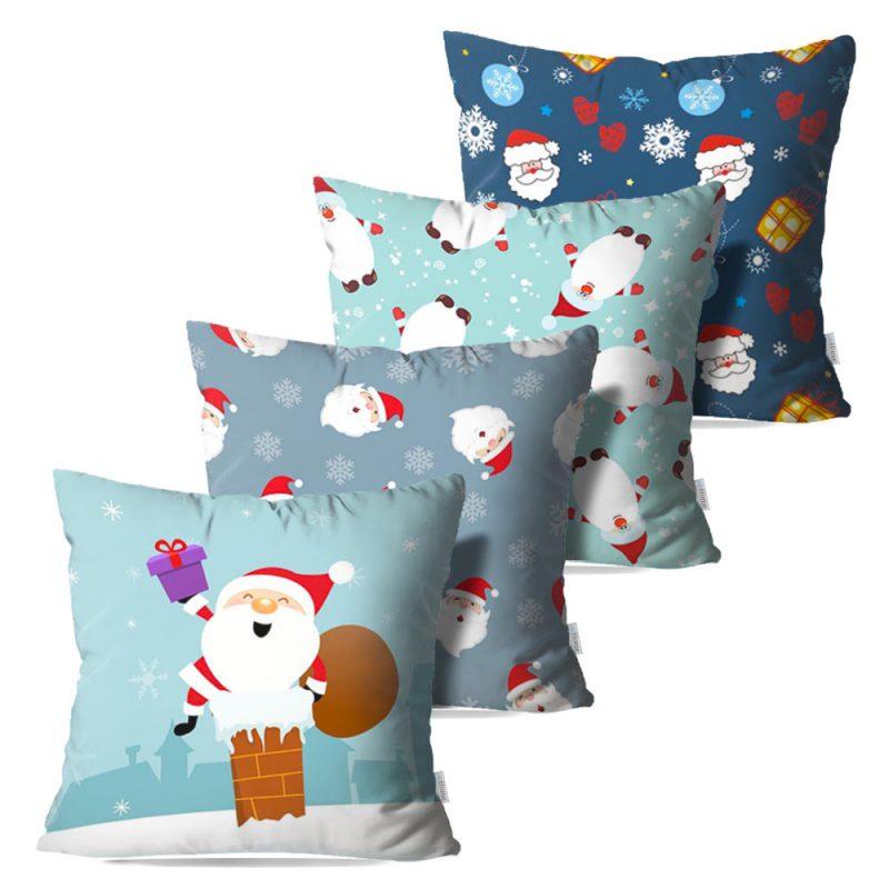 Kit: 4 Capas de Almofada Decorativas Natal Chimney - 45x45