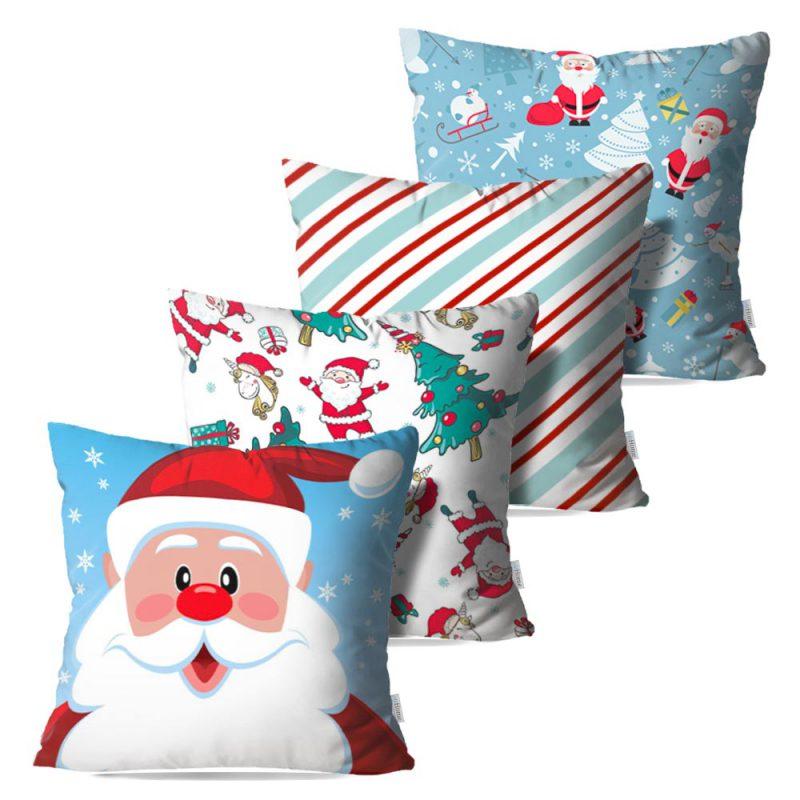 Kit: 4 Capas de Almofada Decorativas Natal Cheer Santa - 45x45