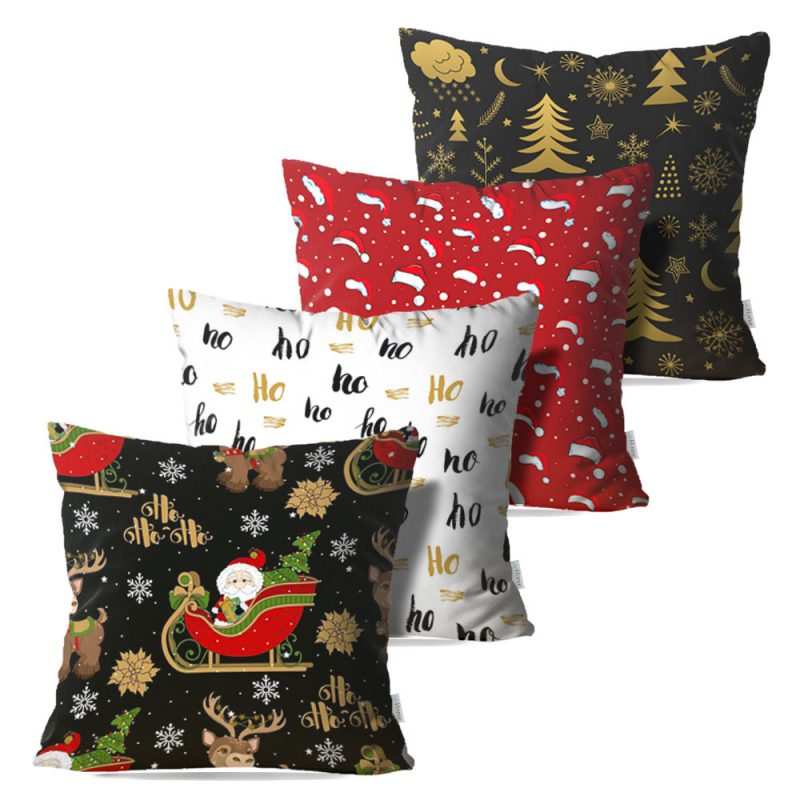 Kit: 4 Capas de Almofada Decorativas Natal Black Christmas - 45x45
