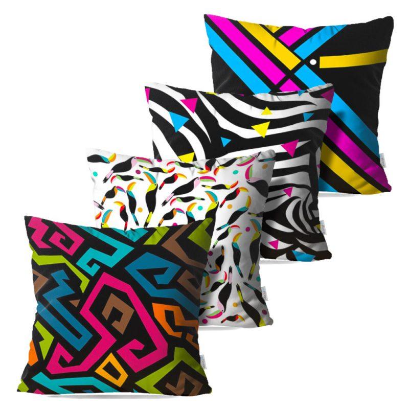 Kit: 4 Capas de Almofada Decorativas Geo Fun - 45x45