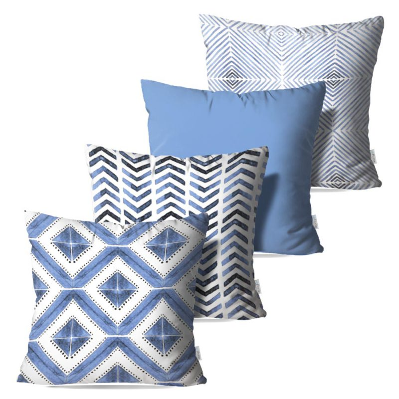 Kit: 4 Capas de Almofada Decorativas Geo Soft Blue - 45x45